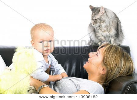 Mother with little boy and cat