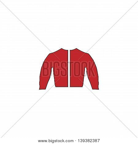 Sports jacket. Red flat simple modern illustration icon with stroke. Collection concept vector pictogram for infographic project and logo
