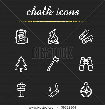 Camping icons set. Backpack, campfire, firewood and fir tree. Axe, binoculars, wooden way direction, pocket knife and compass illustrations. Travelling isolated vector chalkboard drawings