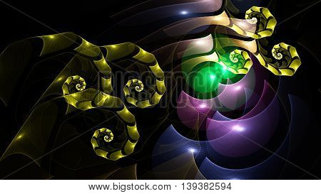 3D surreal illustration. Sacred geometry. Mysterious psychedelic relaxation pattern. Fractal abstract texture. Digital artwork graphic design astrology alchemy magic