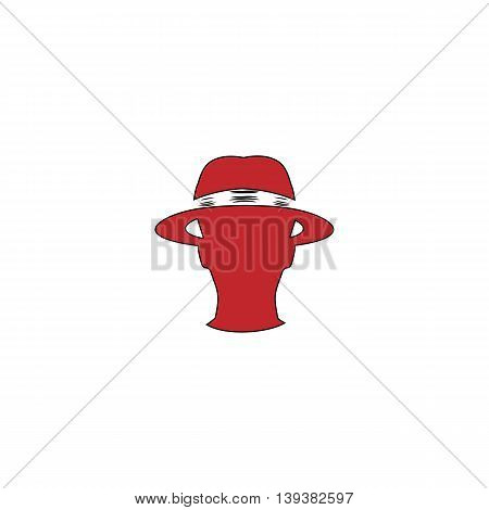 Spy. Red flat simple modern illustration icon with stroke. Collection concept vector pictogram for infographic project and logo