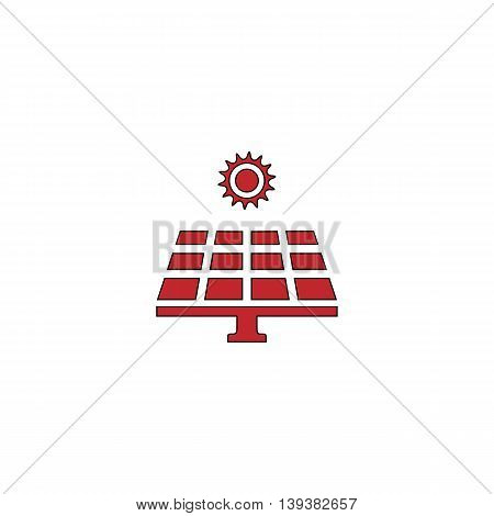 Solar energy panel. Red flat simple modern illustration icon with stroke. Collection concept vector pictogram for infographic project and logo