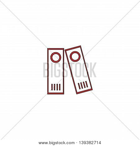 Row of binders. Red flat simple modern illustration icon with stroke. Collection concept vector pictogram for infographic project and logo