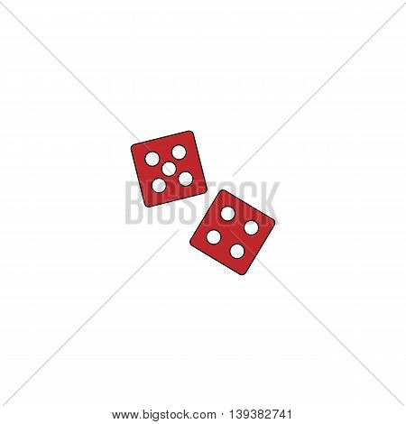 Dice. Red flat simple modern illustration icon with stroke. Collection concept vector pictogram for infographic project and logo