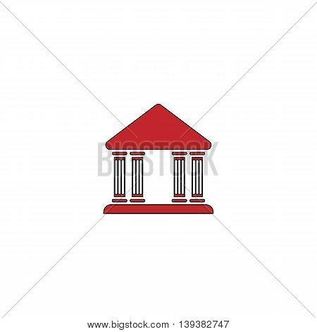 Court building. Red flat simple modern illustration icon with stroke. Collection concept vector pictogram for infographic project and logo