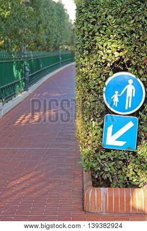 Segregated Pedestrian Path Sidewalk With Red Bricks