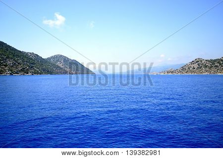 Walk on a yacht on the Mediterranean Sea in Turkey.