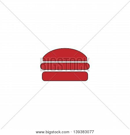 Burger. Red flat simple modern illustration icon with stroke. Collection concept vector pictogram for infographic project and logo