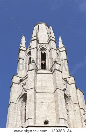 Tower of Cathedral of Saint Mary of Girona Catalonia Spain.
