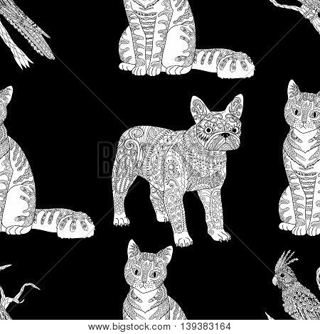 High detailed seamless pattern with pets in zentangle style. Adult coloring page with domestic animals for anti stress art therapy. Zendoodle template for wrapping or scrapbook paper. Vector.