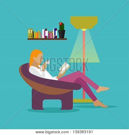 Young woman at home sitting on modern chair, reading book and drinking coffee. Vector illustration in flat style design.