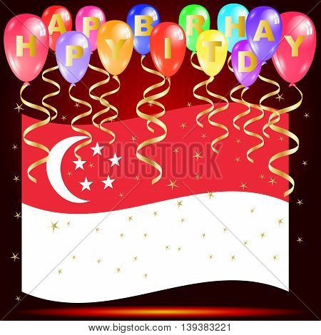 Happy birthday balloons with singapore flag and golden star confetti isolated on red background with copy space Independence day greeting card illustration design