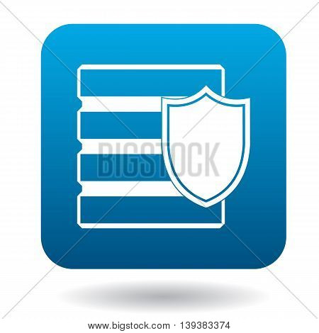 Data security icon in simple style in blue square. Protection symbol
