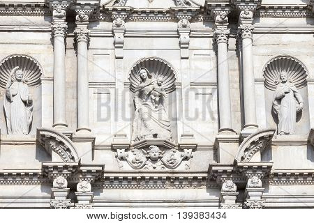 Details of baroque facade Cathedral of Saint Mary of Girona Catalonia Spain