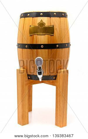 a large wooden barrel for beer on a support on a white background