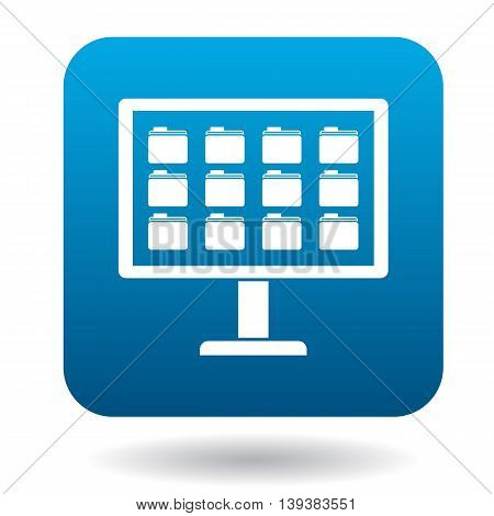Storing files in computer icon in simple style in blue square. Work with files symbol
