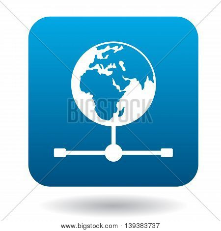 Globe icon in simple style in blue square. Geography symbol