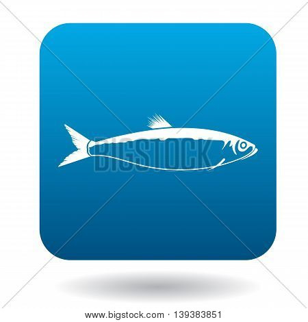Herring icon in simple style in blue square. Animals symbol