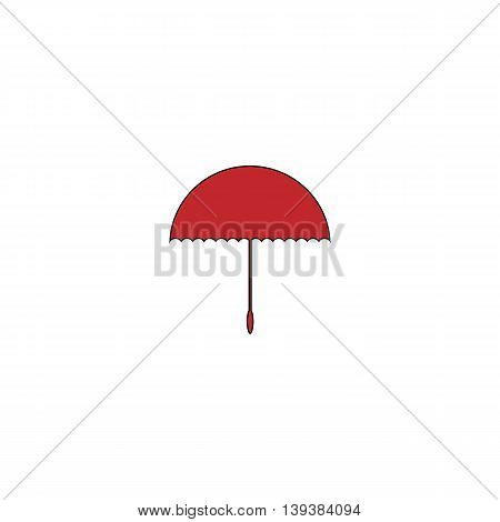 Simple Umbrella. Red flat simple modern illustration icon with stroke. Collection concept vector pictogram for infographic project and logo