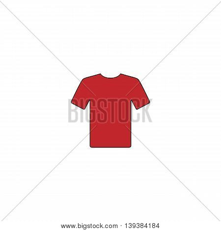 Tshirt. Red flat simple modern illustration icon with stroke. Collection concept vector pictogram for infographic project and logo