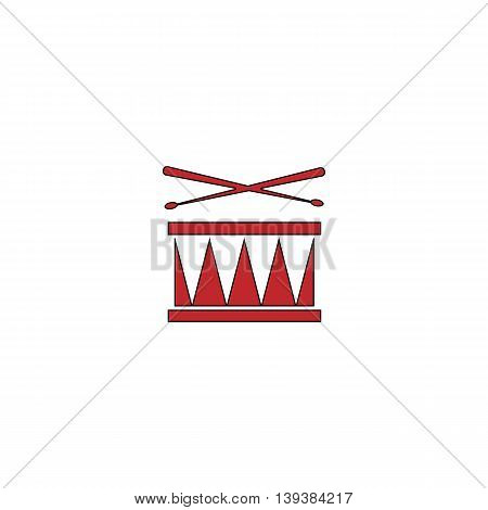 Drum. Red flat simple modern illustration icon with stroke. Collection concept vector pictogram for infographic project and logo