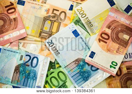 Euro Money Banknotes as background close up