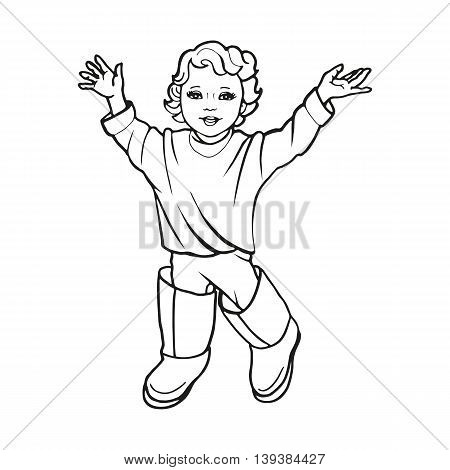 Vector illustration drawing a small nice little girl in big boots. Doodle picture isolated on white background. Pretty joyful child.