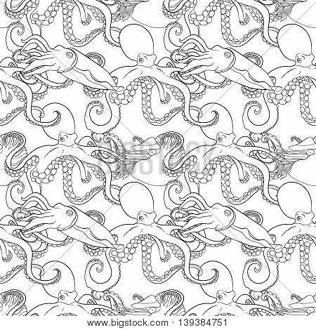 Detailed seamless pattern with mollusks. Anti stress coloring page. Black white hand drawn zen doodle oceanic animals. Endless texture can be used for wallpaper, pattern fills, wrapping paper. Vector.