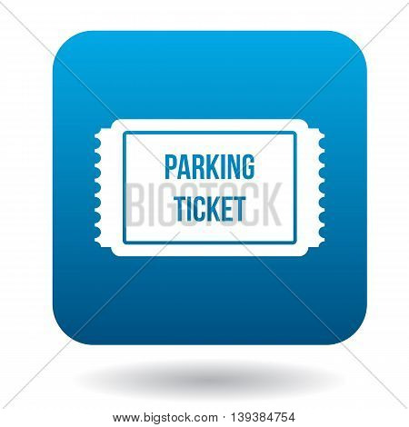 Parking ticket icon in simple style in blue square. Transport and service symbol