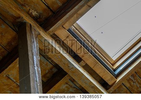 Dormer Window From Inside. Close Up With Old Wooden Dormer And Window..