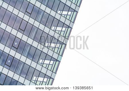 Extreme Close Up Building Windows Texture. Low Angle View Of Modern Commercial Office Building With