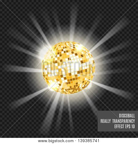 Disco ball with glow. Really tranparency effect. Disco background. Template for your design. Golden