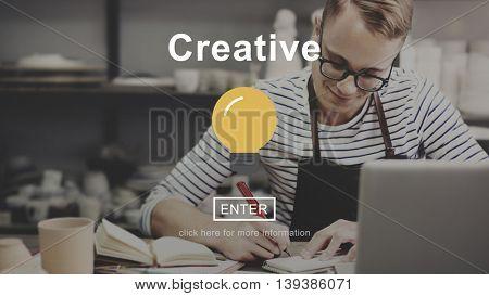 Creative Light Bulb Icon Start Button Concept