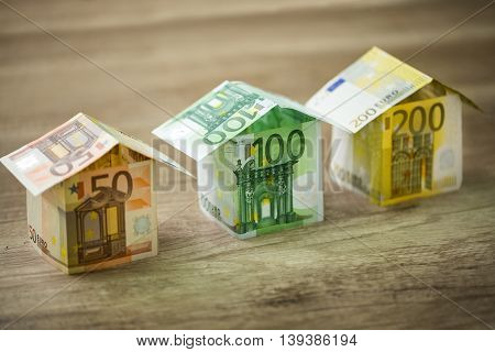 Houses Made Of Euros Currency Banknotes