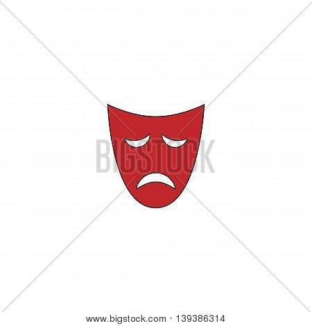 Sadness mask. Red flat simple modern illustration icon with stroke. Collection concept vector pictogram for infographic project and logo