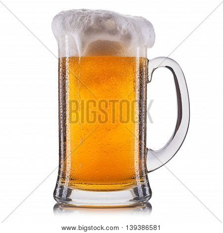 Frosty glass of unfiltered beer isolated on a white background.