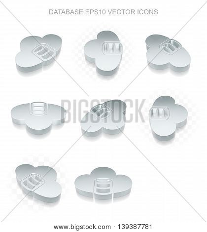 Programming icons set: different views of flat 3d metallic Database With Cloud icon with transparent shadow on white background, EPS 10 vector illustration.