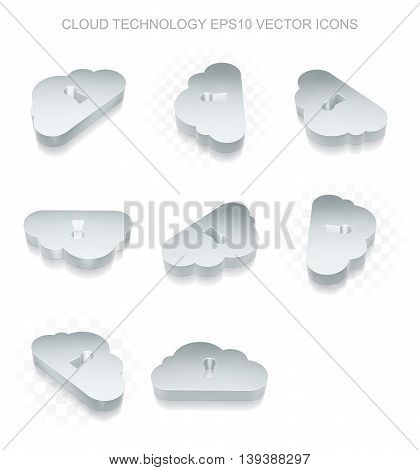 Cloud computing icons set: different views of flat 3d metallic Cloud With Keyhole icon with transparent shadow on white background, EPS 10 vector illustration.