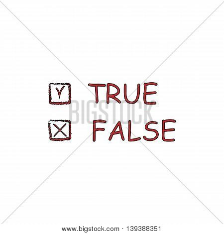 True and False. Red flat simple modern illustration icon with stroke. Collection concept vector pictogram for infographic project and logo