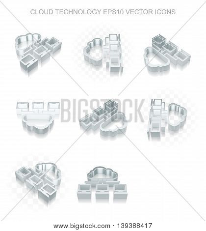 Cloud technology icons set: different views of flat 3d metallic Cloud Network icon with transparent shadow on white background, EPS 10 vector illustration.