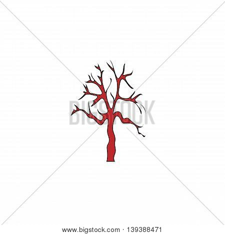 Tree Silhouette. Red flat simple modern illustration icon with stroke. Collection concept vector pictogram for infographic project and logo