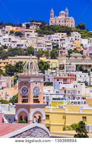Colors of Greece series -  Syros island , view of Ano Syros village