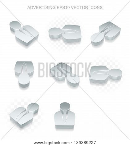 Advertising icons set: different views of flat 3d metallic Business Man icon with transparent shadow on white background, EPS 10 vector illustration.