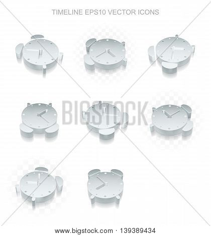 Timeline icons set: different views of flat 3d metallic Alarm Clock icon with transparent shadow on white background, EPS 10 vector illustration.
