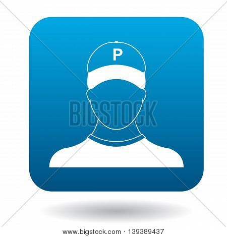 Parking attendant icon in simple style in blue square. Transport and service symbol