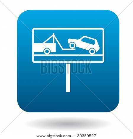 Signs of evacuation of cars icon in simple style in blue square. Transport and service symbol