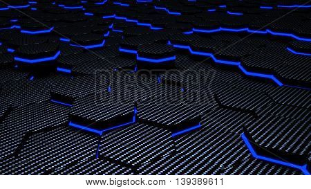 luminance blue carbon futuristic hexagons 3d illustration background