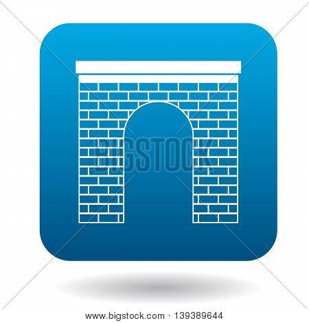 Brick arch icon in simple style in blue square. Construction and interiors symbol