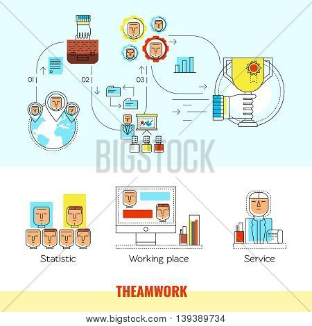Two horizontal colored teamwork line banner set with descriptions of statistic working place service vector illustration
