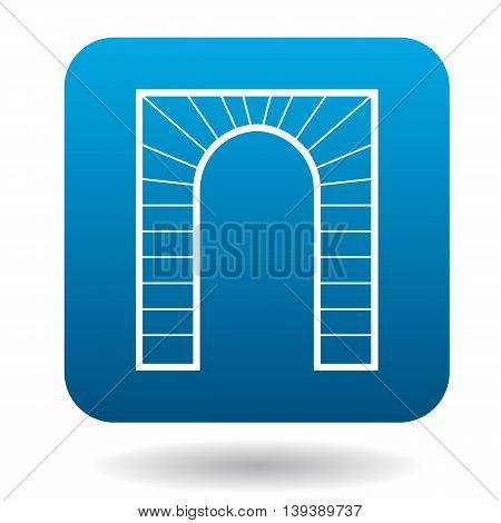 Striped arch icon in simple style in blue square. Construction and interiors symbol
